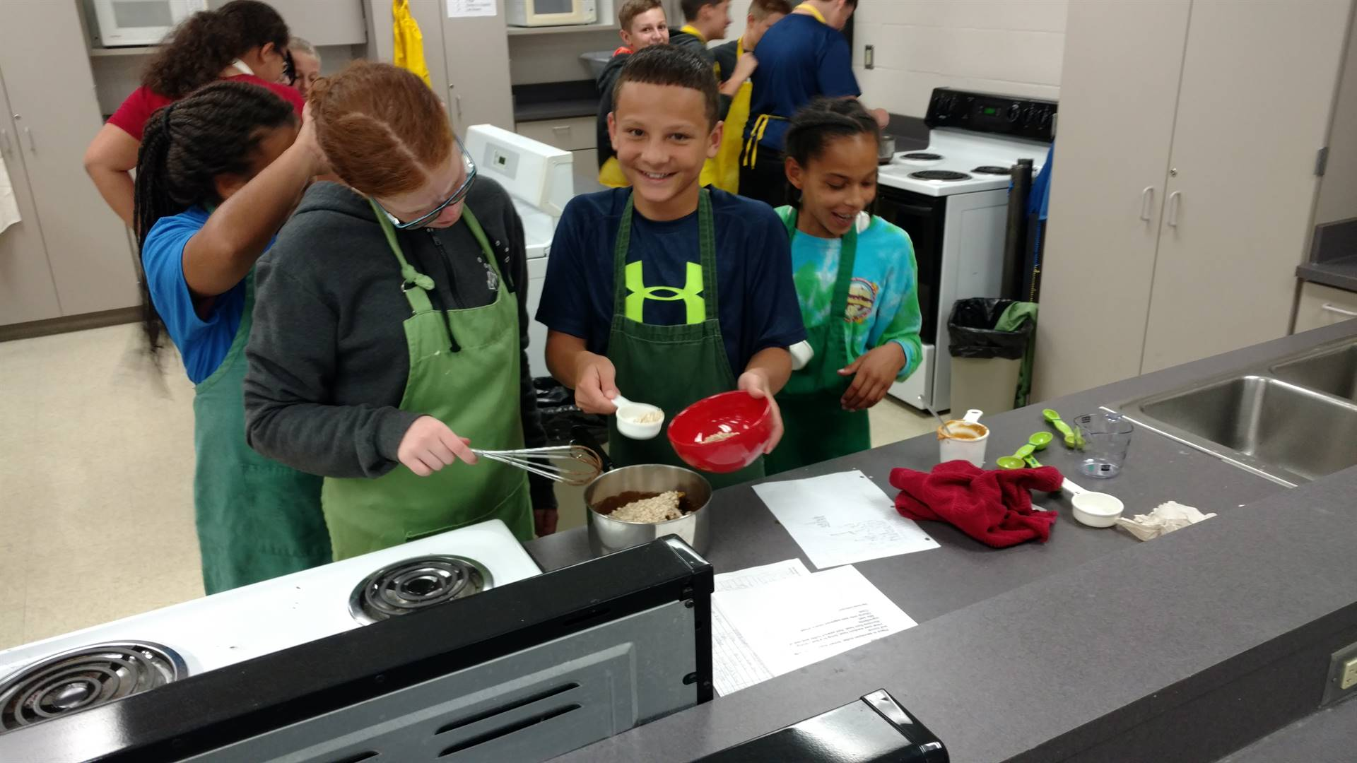 students working together in the kitchen