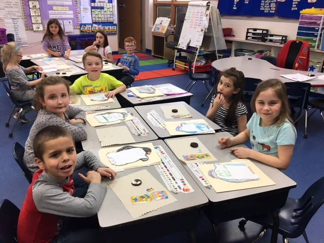 first graders working