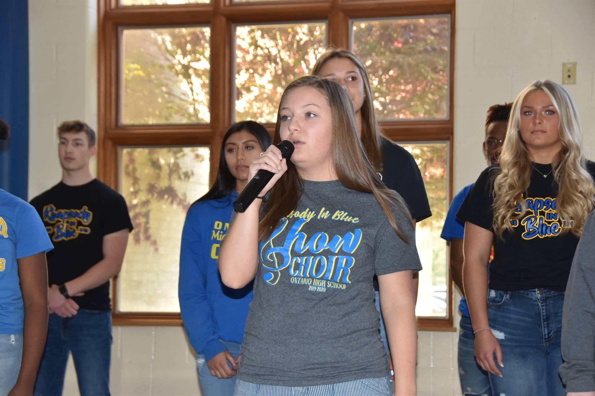 student singing
